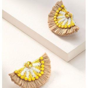Stella & Dot Embroidered Lemon Earrings